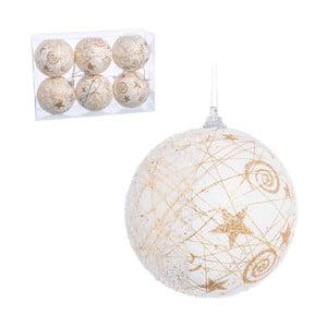 Sada 6 bílo-zlatých vánočních baněk Unimasa, 8x8 x 8 cm