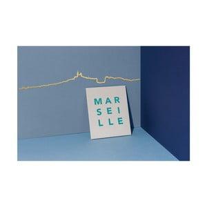 Decorațiune de perete cu silueta orașului The Line Marseille, auriu