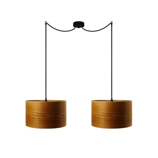 Dvojité závěsné svítidlo z přírodní dýhy v barvě třešňového dřeva Sotto Luce TSURI