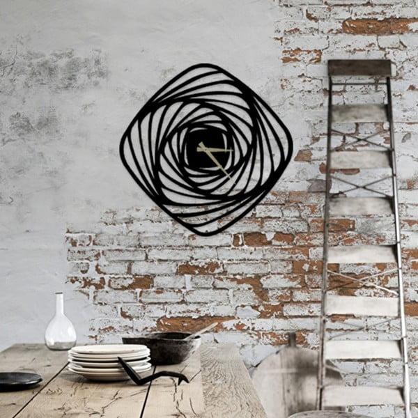 Czarny metalowy zegar ścienny Girdap, ⌀ 50 cm