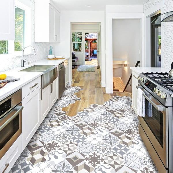 Zestaw 10 wodoodpornych naklejek na podłogę Ambiance Kitchenetta
