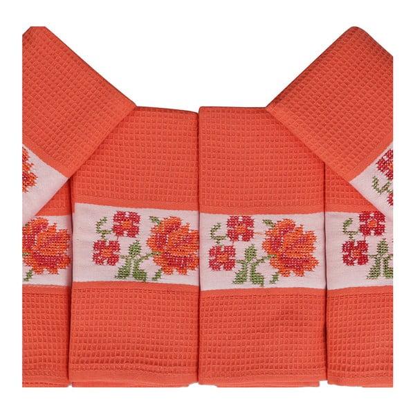Sada 6 oranžových ručníků z čisté bavlny Simplicity, 45 x 70 cm