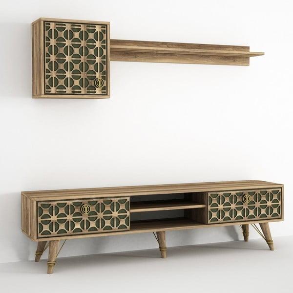 Komplet szafki pod TV i 2 półek z dekorem drewna orzecha Ratto Valente