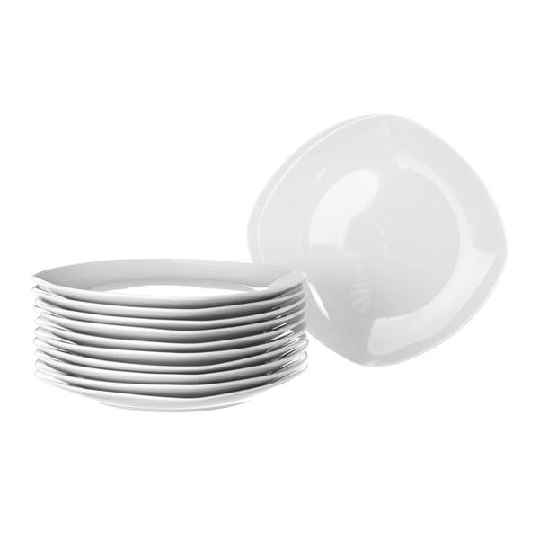 Sada 12 bílých porcelánových talířů Unimasa Cubic, průměr20,5cm