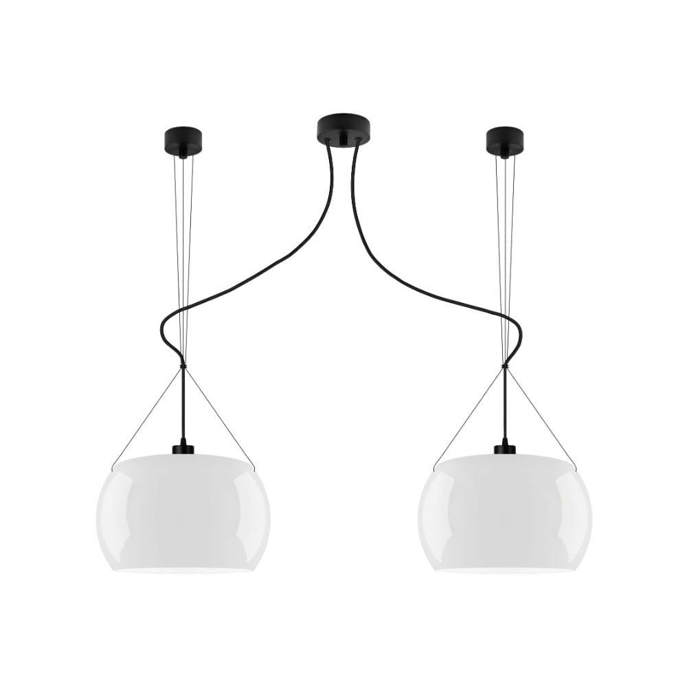 Bílé laské stropní svítidlo s černým kabelem Sotto Luce Momo