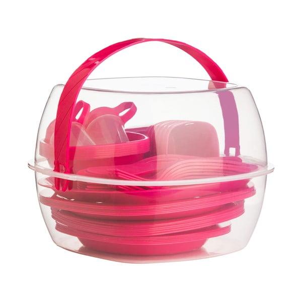 Zestaw sztućców i naczyń piknikowych Premier Housewares Hot Pink, 51 szt.