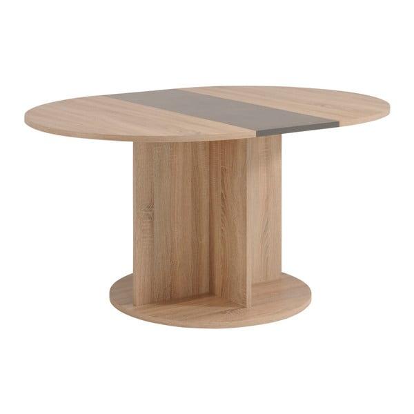 Rozkládací oválný jídelní stůl v dekoru dubového dřeva s detaily v betonovém dekoru Parisot Rouen, 145x109cm