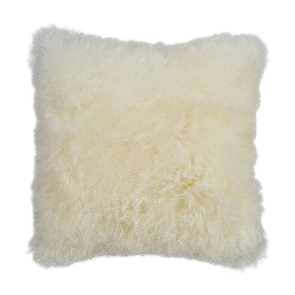 Bílý kožešinový polštář s krátkým chlupem, 35 x 35 cm