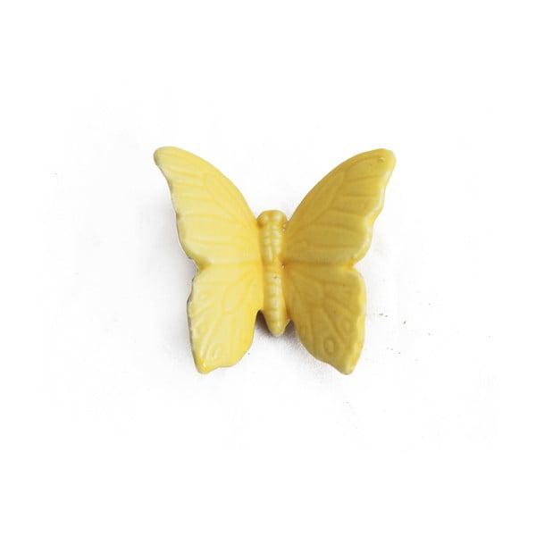 Keramický motýl k zavěšení 6 ks, žlutý