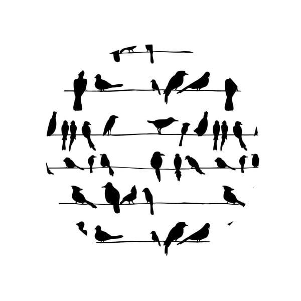 Sada 2 odkládacích stolků Birds On Wire, 35 cm + 49 cm