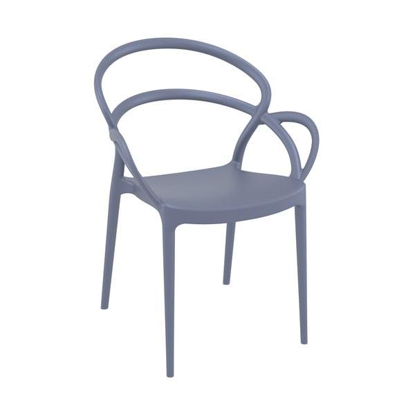 Sada 4 tmavě šedých zahradních židlí Resol Mila