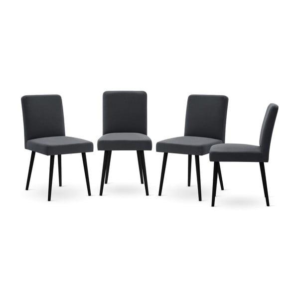 Set canapea albastru închis cu șezut pe partea stângă, 4 scaune gri antracit, o saltea 160 x 200 cm Home Essentials