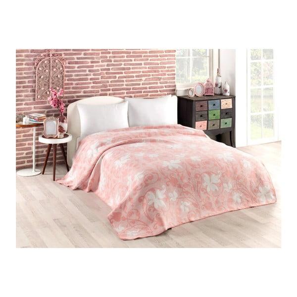 Leaves rózsaszín pamutkeverék takaró, 150 x 200 cm