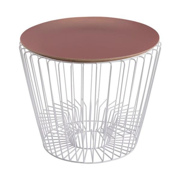 Odkládací stolek z lakovaného kovu s růžovou deskou HARTÔ Ernest, Ø 50 cm