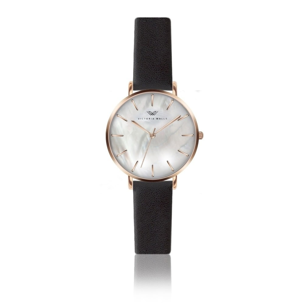 Dámské hodinky s černým koženým řemínkem Victoria Walls Pearl
