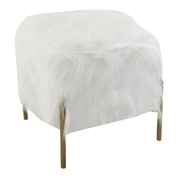 Biela štvorcová stolička Kare Design Fur