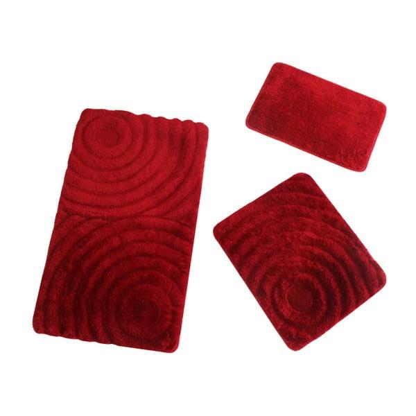 Komplet 3 czerwonych dywaników łazienkowych Fading