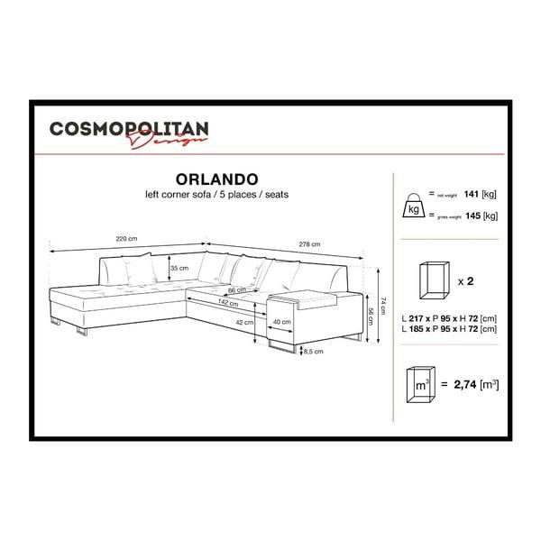 Světle šedá rohová rozkládací pohovka s nohami v černé barvě Cosmopolitan Design Orlando, levý roh