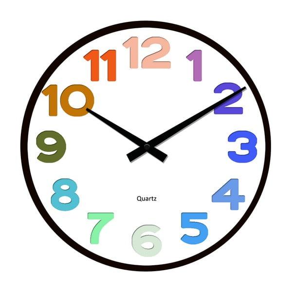 Skleněné hodiny Barevné číslování, 34 cm