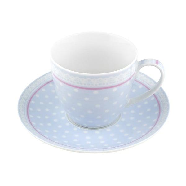 Porcelánový šálek s podšálkem Dots, modrý 4 ks