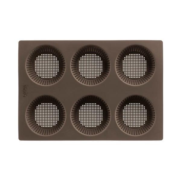Černá silikonová forma s 6 přihrádkami na pečení housek Lékué