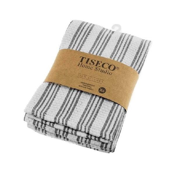 Sada 4 šedých bavlněných utěrek Tiseco Home Studio, 50 x 70 cm