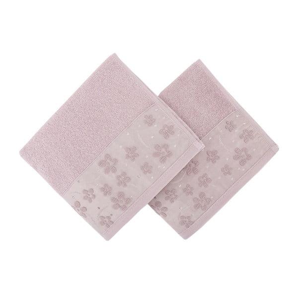 Zestaw 2 różowych ręczników Papaya, 50x90 cm