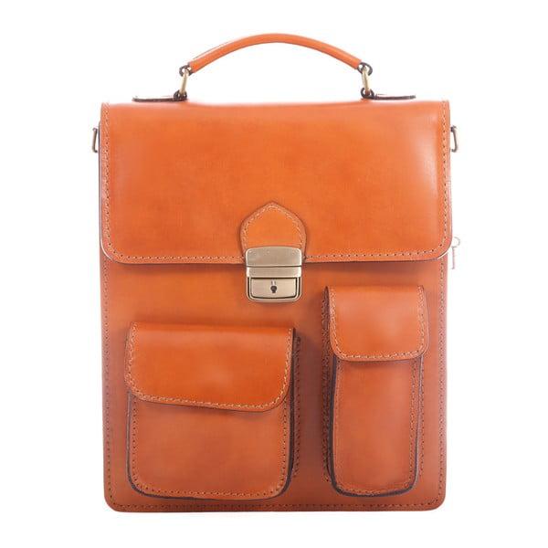 Koňakově hnědá kožená taška Chicca Borse Vintage Work