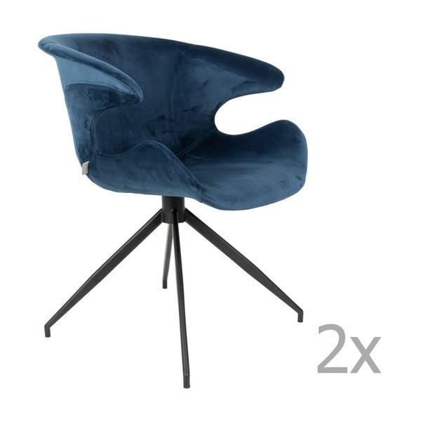 Set 2 scaune cu cotiere Zuiver Mia, albastru