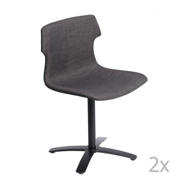 Sada 2 hnědých čalouněných židlí D2 Techno One