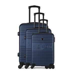 Sada 3 tmavě modrých cestovních kufrů na kolečkách GENTLEMAN FARMER Cadenas Integre Duro