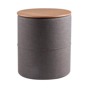 Tmavě šedý odkládací stolek s deskou v dekoru dubového dřeva sømcasa Leo