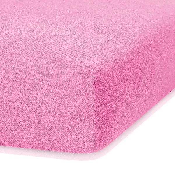 Ciemnoróżowe prześcieradło elastyczne z dużym dodatkiem bawełny AmeliaHome Ruby, 200x160-180 cm