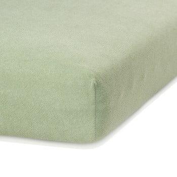 Cearceaf elastic AmeliaHome Ruby, 200 x 100-120 cm, verde măsliniu