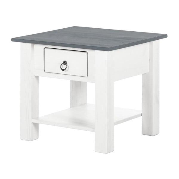 Klein fehér dohányzóasztal fenyőfából szürke asztallappal - Støraa
