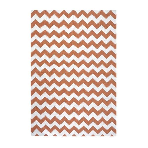 Vlněný koberec Geometry Zic Zac Orange & White, 160x230 cm