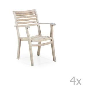 Sada 4 zahradních židlí s opěradly na ruce Brafab Karlo