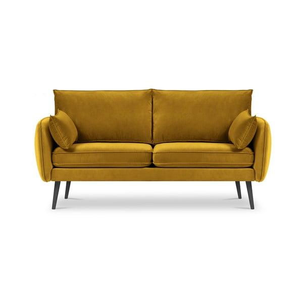 Lento sárga bársony kanapé, 158 cm - Kooko Home