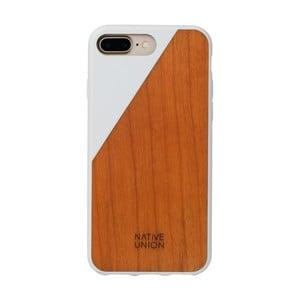 Bílý obal na mobilní telefon s dřevěným detailem pro iPhone 7 a 8 Plus Native Union Clic Wooden