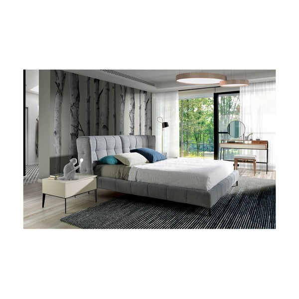 Šedá dvoulůžková postel Ángel Cerdá Harmony, 180 x 200 cm