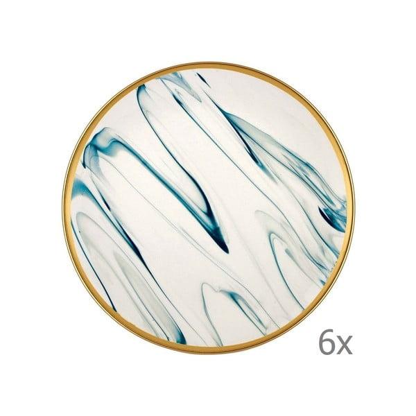 Sada 6 modro-bílých porcelánových dezertních talířů Mia Lucid, ⌀ 19 cm