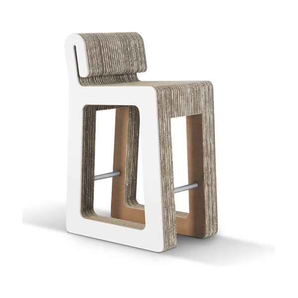 Barová kartonová židle Hook Stool White
