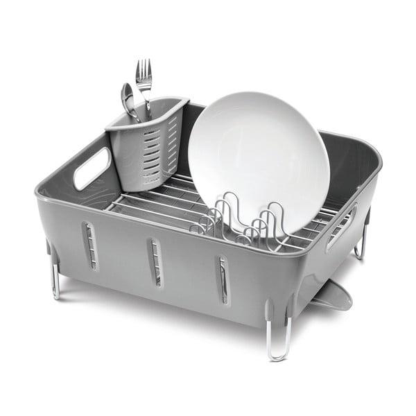 Šedý odkapávač na nádobí simplehuman Siro