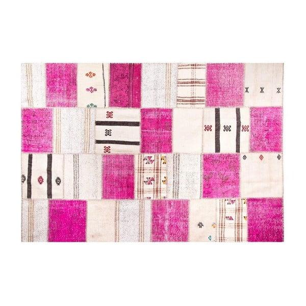 Vlněný koberec Allmode Kilim Pink, 180x120 cm