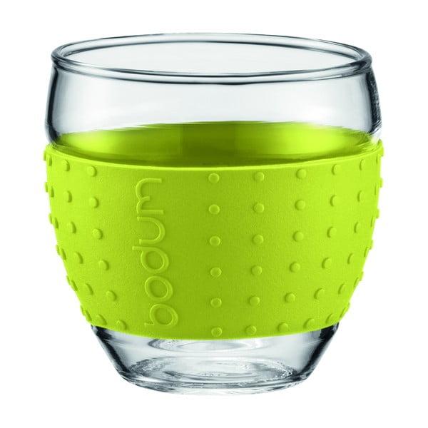 Sada 2 sklenic Pavina Small, zelený proužek