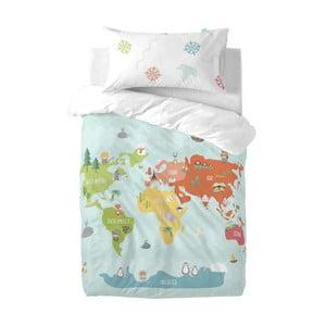 Dětské povlečení z čisté bavlny Happynois World Map, 120x100cm
