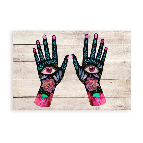 Nástěnná dekorace z borovicového dřeva Madre Selva Hand Eyes, 60 x 40 cm