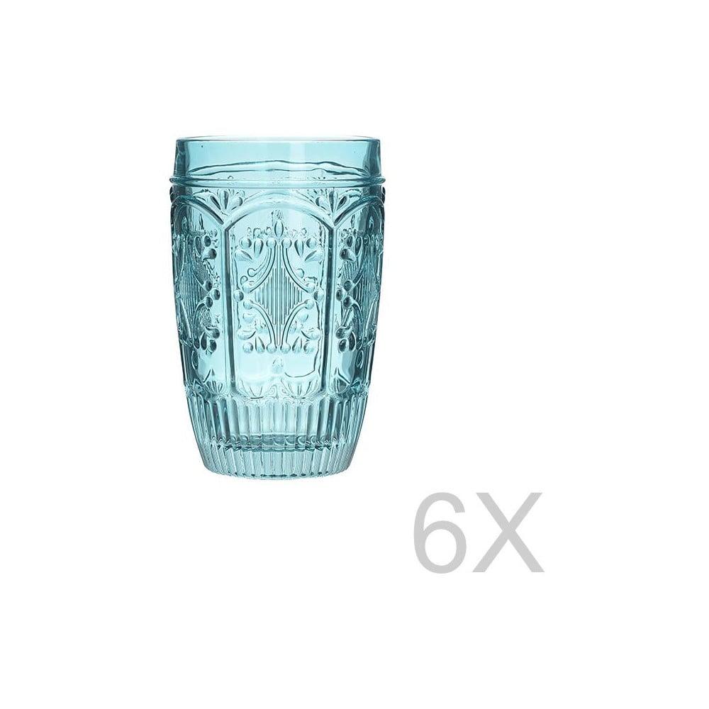 Sada 6 skleněných transparentních modrých sklenic InArt Glamour Beverage, výška 13 cm