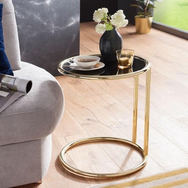 Černý příruční stolek s nohami ve zlaté barvě Skyport Leona, ⌀ 45 cm