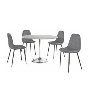 Sada kulatého jídelního stolu a 4 šedých židlí Støraa Terri Concrete